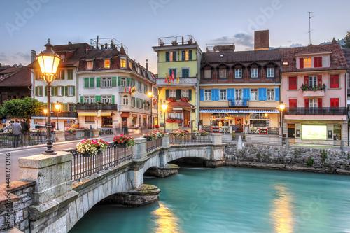 Bridge over the Aare River between Interlaken and Unterseen, in Bern Canton, Switzerland