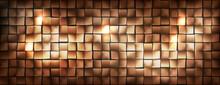 Wide Golden Metallic Cubes Background Shining And Dark, Vector Illustration.