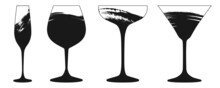 Set Of Black Grunge Wine Cocktail And Champagne Glasses Icons Isolated On A White Background.