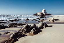 View Of Chapel Senhor Da Pedra On Miramar Beach, Portugal.