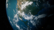 Earth In Space. Photorealistic 3D Render Of The World, With Views Of USA And North America. Climate Concept.