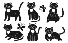 Cats Set Silhouette Glyph In Different Poses, Sitting, Lying, With Other Muzzles, Emotions, Closed And Opening Eyes, Butterflies Fly Around. Funny Character. Pet Collection. Vector Illustration