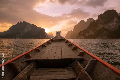 Ship Nose Front View Long tail boat at Ratchaprapa Dam, Suratthani, Thailand Fototapeta