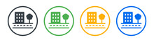 City Building In Town With Tree Icon Vector Illustration.