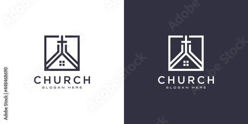 Canvas church christian logo design vector