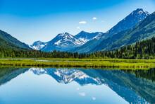 Alaska Tern Lake With Mountain And Sky Reflection