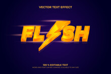 Editable 3d Text Effect Flash With Orange Color And Purple Background Vector