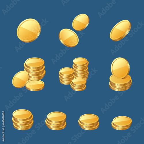 Golden coins, gold or cash money 3d icons set