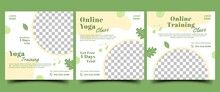 Yoga Class Social Media Post Template. Natural Banner Concept Design With Green Color Ornament And Place For The Photo. Usable For Promotion In Social Media, Banner, And Website.