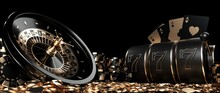 Roulette Wheel, Slot Machine, Four Aces Casino Chips And Coins, Modern Black And Golden Isolated On The Black Background - 3D Illustration