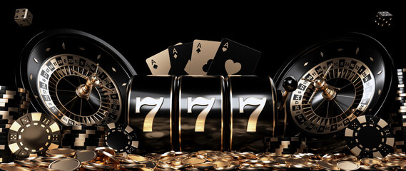 Roulette Wheels, Slot Machine, Four Aces, Casino Chips, Dices And Coins, Modern Black And Golden Isolated On The Black Background - 3D Illustration