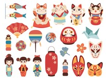 Japanese Toys. National Cultural Lucky Items, Asian Fortune Symbols, Daruma, Maneki Cat And Kokeshi Dolls, Traditional Masks And Lights. Origami Crane And Paper Fan Vector Cartoon Set