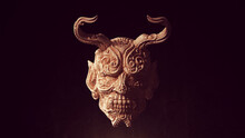 Ancient Face Mask With Horns Wood Carving Halloween Art Sculpture 3d Illustration Render