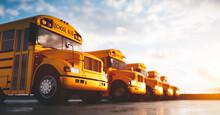 Yellow School Bus Fleet On Parking