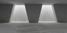Abstract Empty, Modern Concrete Walls Room With Indirect Lit Backwall From Top, Sloped Pillars And Rough Floor - Industrial Interior Or Gallery Background Template
