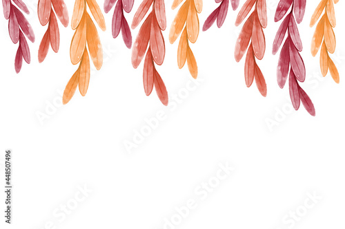Canvas Autumn leaf frame, template for design with orange and red tree branches descending from above