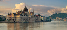 Panorama Depicting The Building Of The Hungarian Parliament In Budapest