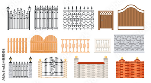 Fotografia Set of Icons Wooden, Metal, Brick and Stone Fences, Handrail, Balustrade Sections and Grates