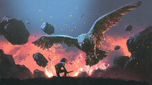 A Man Fighting With The Legendary Eagle, Digital Art Style, Illustration Painting