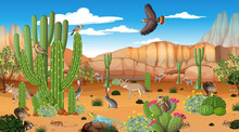 Animals In The Desert Forest Landscape Scene At Daytime