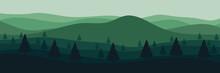 Mountain Flat Design In Green Color Scheme Vector Illustration Good For Web Banner, Background, Backdrop, Wallpaper, Design Template, And Tourism Design