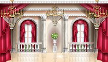 Classic Palace Interior Vector Background, Royal Castle Room, Red Curtain, Golden Chandelier, Balustrade. Marble Column, Vase, Arch Window. Architecture Vintage Apartment Wallpaper, Palace Interior
