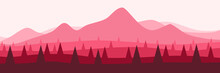 Mountain Flat Design In Pink Color Scheme Vector Illustration Good For Wallpaper, Backdrop, Web Banner, Background And Design Template
