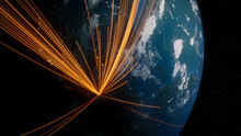 Earth In Space. Orange Lines Connect Mexico City, Mexico With Cities Across The World. Global Travel Or Communication Concept.