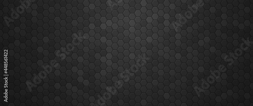 Fotografie, Obraz Industrial black gradient hexagons background