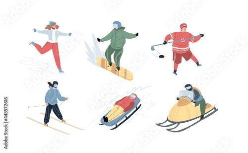 Vászonkép Set of flat cartoon characters doing sport activities outdoor at winter-skating,snowboarding,hockey,skiing,bobsleigh,snowmobile riding