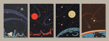 Abstract Space Illustration Set, Retro Style Art, Planets, Satellites, Stars