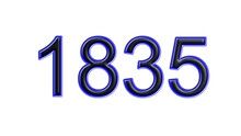 Blue 1835 Number 3d Effect White Background
