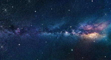 Space background with nebula and stars. .Blue dark night sky with many stars. Milky way on the space background