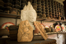 The Head Statue Of An Old Buddha Image Is Related To History And Religion.
