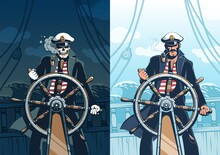 Ship Captain At Helm Against Sea Background - Vintage Poster Template. Pirate Seaman With Skull Face. Retro Poster.