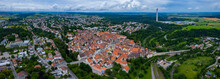 Aerial View Of The Old Part Of The City Rottweil In Germany. On A Cloudy Day In Spring.