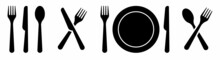 Set Of Fork, Knife, Spoon. Cutlery Restaurant Icon Set. Food Line Icon. Cutlery Sign. Logotype Menu. Silhouette Of Cutlery. Vector Illustration