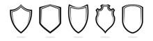 Protect Shield Black Frame Symbol Icon Vector Illustration Set
