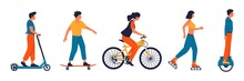 People With Transport. Characters Riding On Bicycle And Scooter. Cute Woman Roller Skating. Man On Hoverboard. Boy Skateboarding. Persons Drive Personal Vehicles. Vector Traffic Set