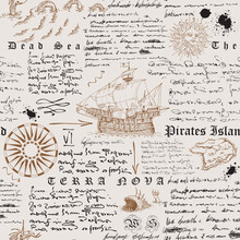 Vector Image Of A Seamless Texture In The Style Of A Medieval Nautical Record Of The Captain's Diary Engraving Sketch
