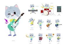 ロックンロールやポップミュージックを演奏するネコの男の子のセット