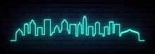 Blue Neon Skyline Of Charlotte. Bright Charlotte City Long Banner. Vector Illustration.