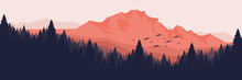 Forest In Mountain With Bird Silhouette Vector Illustration Good For Wallpaper, Background, Backdrop, Web Banner, Web Background And Design Template
