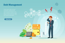 Debt Management, Debt Stress. Frustrated Businessman Try To Manage Credit Card Bills And Expenses Spending With Fixed Income.