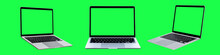 Collection Of Laptop Or Notebook With Blank Green Screen Isolated On Green Background
