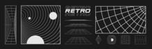 Set Of Retrofuturistic Design Elements, Perspective Grids, Tunnel, RETRO Title, Polar Grid, Blackhole, Bipyramide, Circle Portal In Cyberpunk 80s Style. Cyber Retrowave. Vector