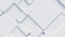 White, Tech Background With A Geometric 3D Structure. Clean, Minimal Design With Simple Futuristic Forms. 3D Render.