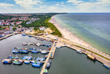 Fototapeta Bambus - Aerial landscape of harbor in Wladyslawowo by the Baltic Sea at summer. Poland.