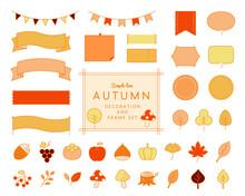 秋のフレームやアイコンのセット リボン あしらい 飾り罫 食べ物 植物 葉 枠