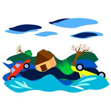 Flooding In The City.The Rushing River Carries Trees, Cars, Houses.Bright Vector Illustration.